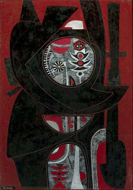 Lucky Madlo Sibiya (1942-1999). RED ABSTRACT undated. Carved, incised and painted wood panel, 89.5 x 61cm.