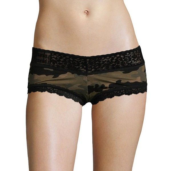 Hanky Panky Women's Camo Lace Boyshorts (47 AUD) ❤ liked on Polyvore featuring intimates, panties, neutral, hanky panky boyshort, lace boyshorts, hanky panky and lacy boyshorts
