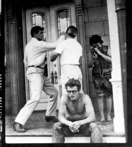 "James Dean, Jane Withers and Rock Hudson on set of ""Giant"" 1955."