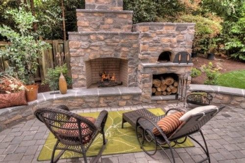 ok this fireplace would be nice too!: Patio Design, Fireplaces Design, Outdoor Living, Brick Ovens, Outdoor Fireplaces, Outdoor Spaces, Outdoor Pizza Ovens, Firewood Storage, Fire Pit