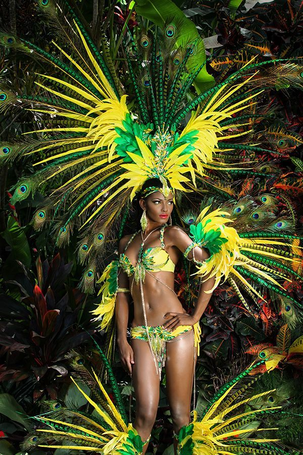 Playing mas with Carnival costumes, Trinidad Carnival 2015