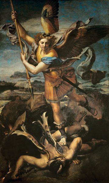 (Raphael) Raffaello Santi - Archangel Michael,......My very favorite renaissance artist and painting.