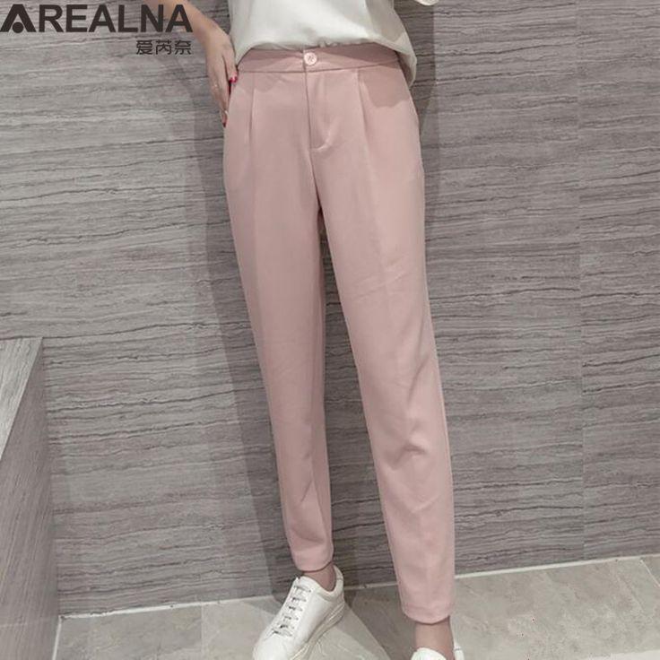 Summer High Waist Women Trousers Office Ol Style Loose Harem Pants Female Formal Suit Nine Pants Pantalones Deportivos Mujer #Affiliate