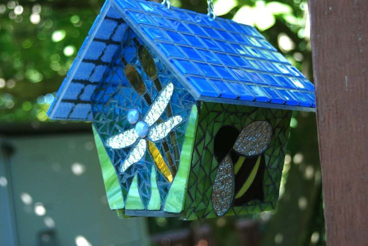 Bird House Stained Glass Mosaic Butterfly, via Etsy.