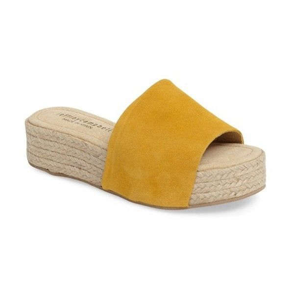 Women's Jeffrey Campbell Espadrille Sandal ($100) ❤ liked on Polyvore featuring shoes, sandals, yellow suede, platform espadrilles, suede wedge sandals, espadrille sandals, platform espadrille sandals and espadrille wedge sandals