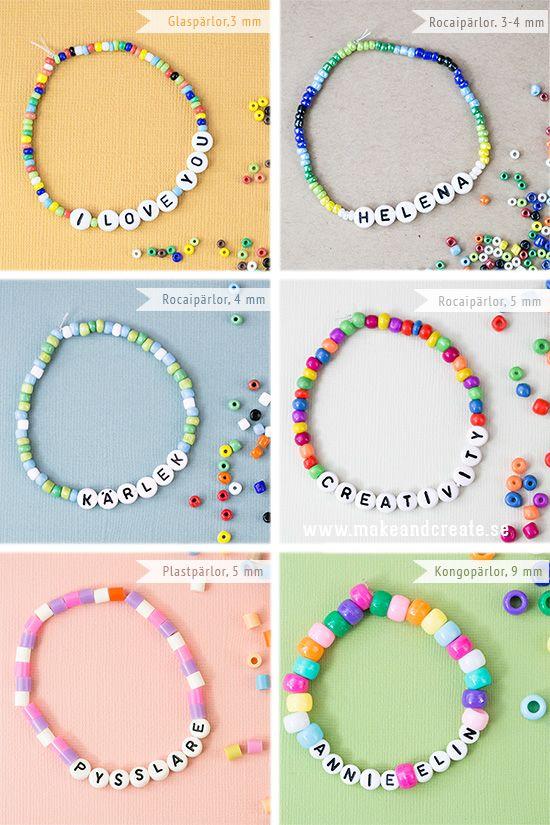 Bokstavsarmband & pärlor - Pysseltips - Make & Create