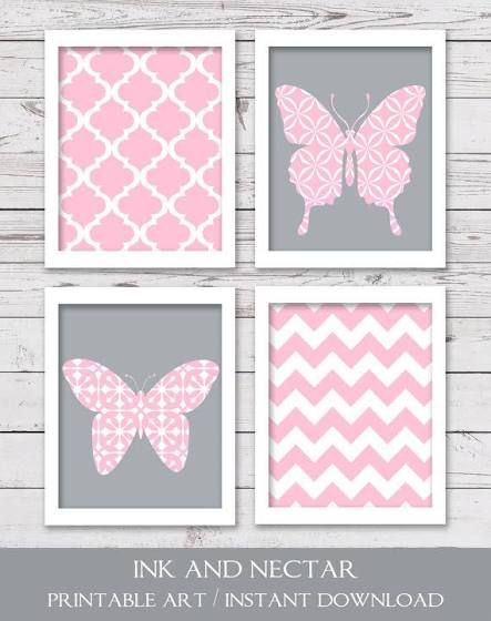 grey and pink butterfly nursery | Baby girl nursery | Butterfly ...