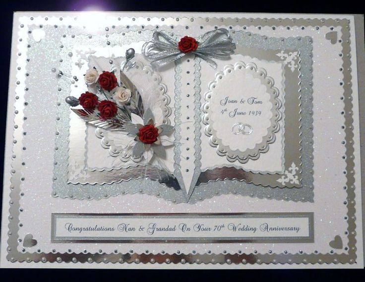 Personalised Diamond/Platinum 60th/70th Wedding Anniversary Card with Box