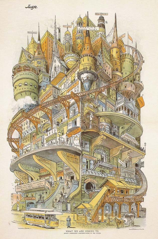 """What we are coming to. """"This illustration by Grant E. Hamilton ran in the February 16, 1895 issue of Judge Magazine and can be found in the book Out of Time by Norman Brosterman."""""""