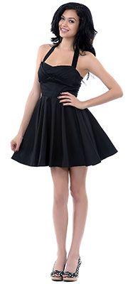 Black Fit N Flare Short Halter Dress