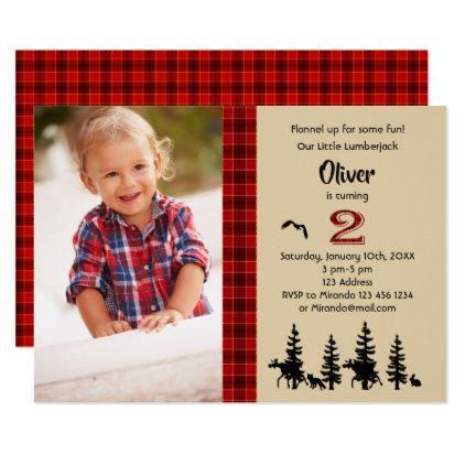 Lumberjack photo 2nd birthday party invitation - invitations custom unique diy personalize occasions