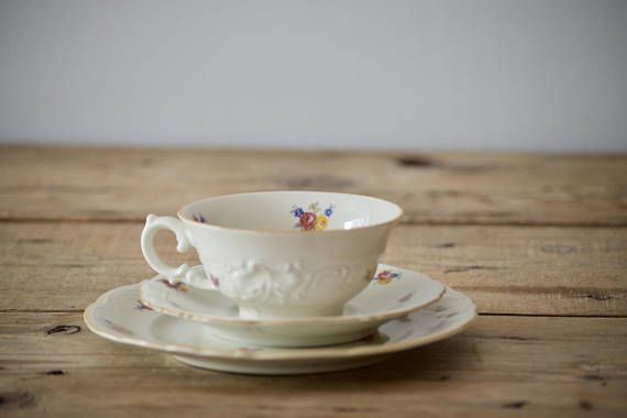 Cup and Saucer Tea Set by KPM Royal Ivory Bone China Trio Cream Collectible Teacup Saucer Side Plate Vintage Christmas Gift for her by VintageFlicker