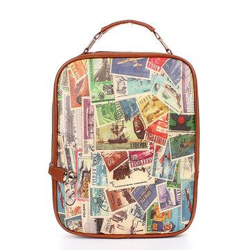 Fashion Women Girls Retro Colorful Printing School Bag Backpack - US$15.55