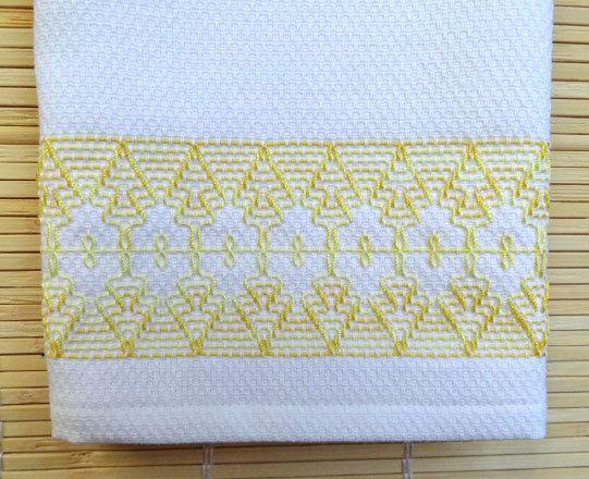 Tea Towel Dish Towel Swedish Weaving in Yellow
