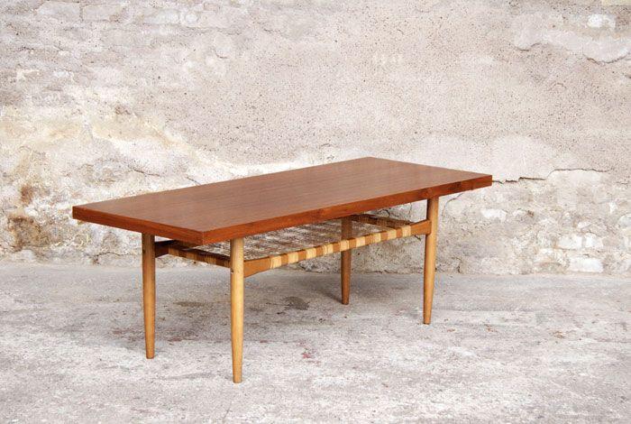 Table basse longue vintage p21 cannage tressage style - Table basse longue ...