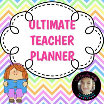 This is the Ultimate Customizable Teacher Planner! This planner is bright and colorful. In addition, it is over 80 pages long and includes... - a cover page - school information sheet with schedule - a grade book - meeting notes sheet - long term planing pages - two different monthly spreads (Monday through Sunday and Sunday through Saturday) - a lesson plan template