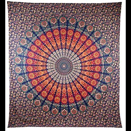 Handicrunch COR Mehrfarbige Mandala Tapestry Indian Wandbehang , Bettlaken , Bettdecke Picknick Strand Blatt , Qualität- Hippie Wandteppiche oder Tagesdecke in Organic Cotton Tree of Life 95 x 85 Inches