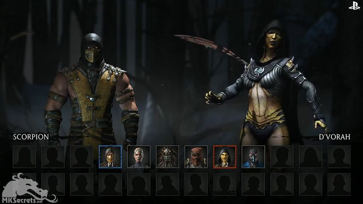 Selection screen of Mortal Kombat X/10. Six characters have been relieved so far, four of which are completely new fighters.