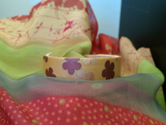 Flower Pattern Polymer and Leather Bracelet by BelindasCreations, $25.00