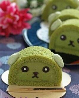 Mameshiba green tea roll cake