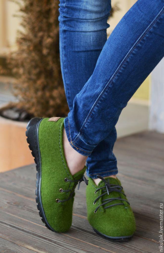 """Купить Валяные полуботинки """"Изумрудный город"""" - оливковый, зеленые полу-ботинки, валяные туфли"""