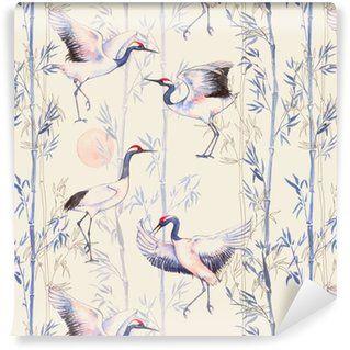Tapeta Pixerstick Ręcznie rysowane Akwarele szwu z białych japońskich żurawi tańca. Powtarzające się tło z delikatnymi ptaków i bambusa