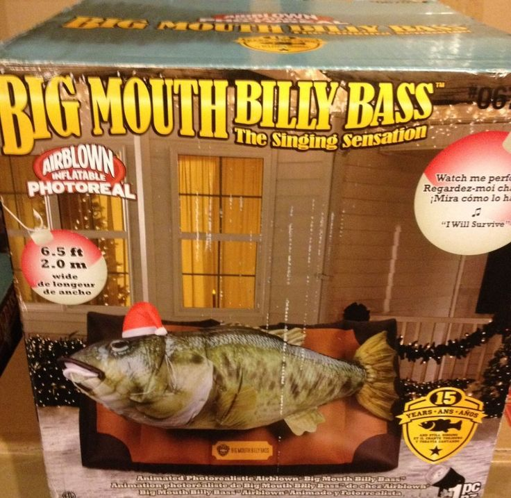 GEMMY ANIMATED BIG MOUTH BILLY BASS SINGING FISH Christmas Airblown Inflatable