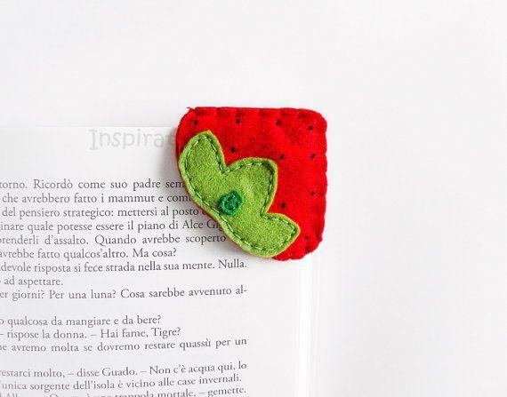 Strawberry felt corner bookmark back to by InspirationalGecko