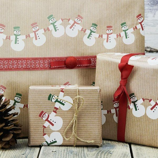 Geschenke verpacken originelle Ideen schneemann