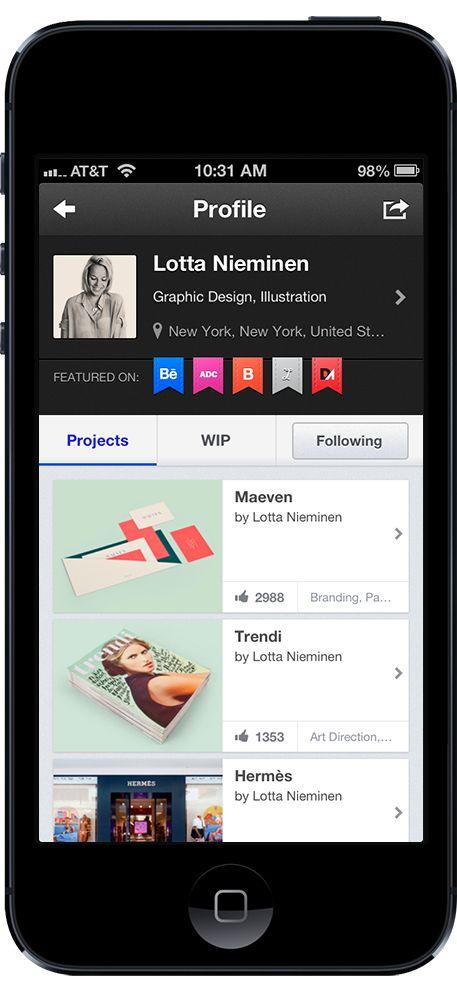 Behance Official iPhone App 2.0 on Behance