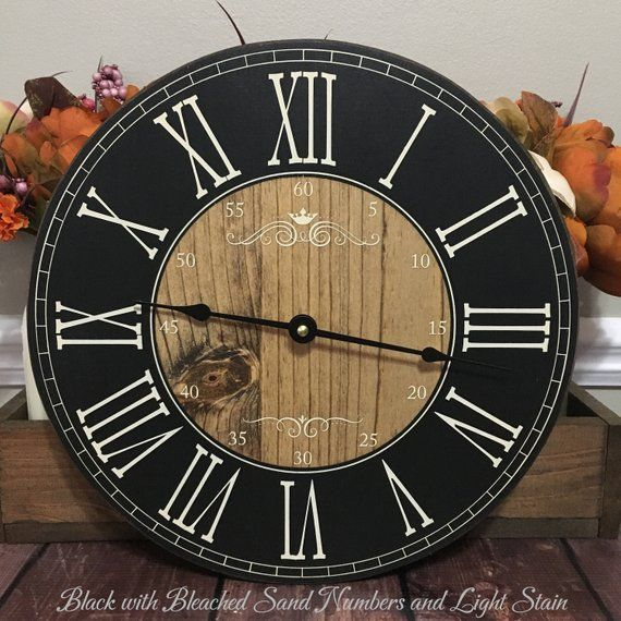 12 Inch Wooden Farmhouse Clock Roman Numeral Rustic Wall Etsy Clock Farmhouse Clocks Roman Numeral Clock