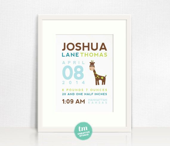 This custom birth announcement print is perfect for a new baby gift and to hang in a nursery! Include your personal information for a treasured