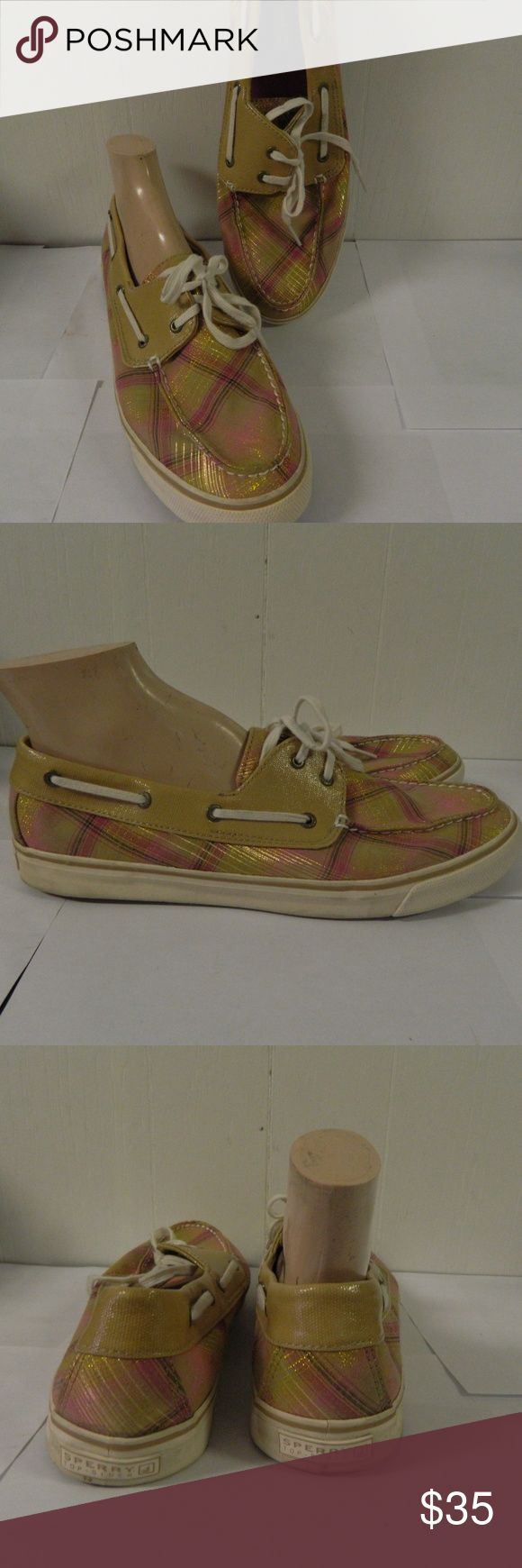 """Sperry Top Siders Plaid Beige & Pink Metallic Gold Very good clean condition.  Stated size 12M Womens.  Measure 11 1/2 """" heel to toe.  Tan and pink plaid with metallic gold thread throughout. Sperry Shoes Flats & Loafers"""