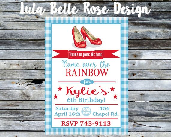 Wizard of Oz Birthday Invitation Ruby Red Slippers Wizard of