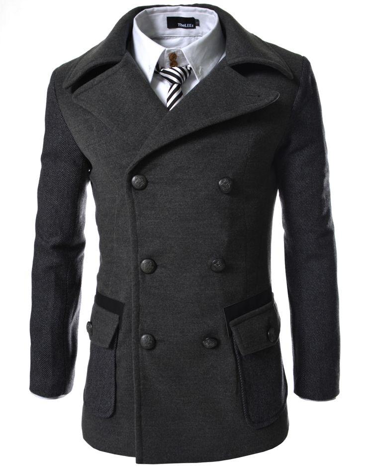 Slim Double Breasted 2 Tone Wool Coat