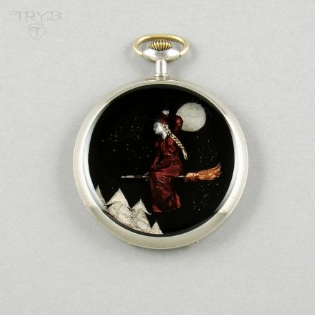 Handmade pendant: Sophia - the Witch. Little sculpture in old pocket watch case.