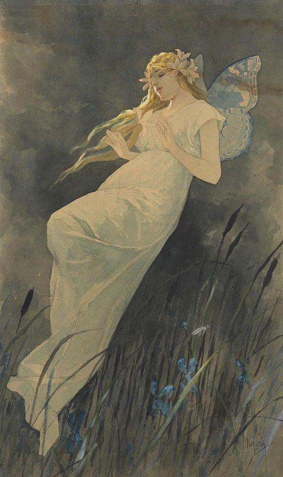 Alphonse Mucha - Elfe mit Irisblüten (ca. 1920s)
