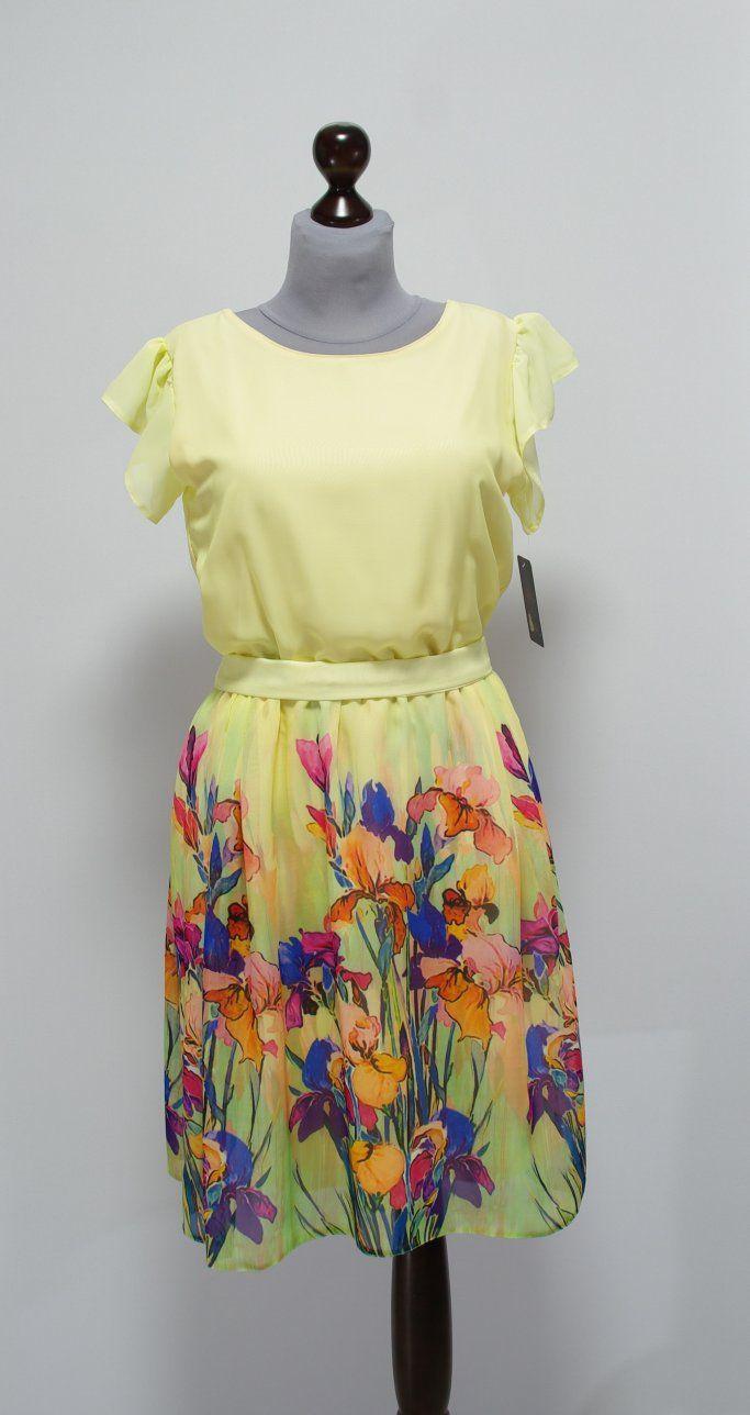 Шифоновое желтое платье