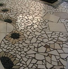 I want to do this on my patio = Made of stone and broken and cut tiles. This is another section of a mosaic floor :: Hometalk