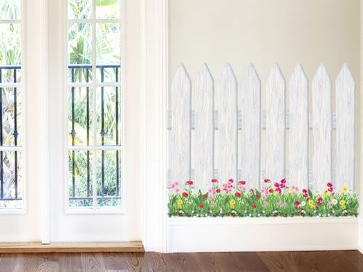 Picket fence wild flowers mural crafty pinterest for Air conditionn mural