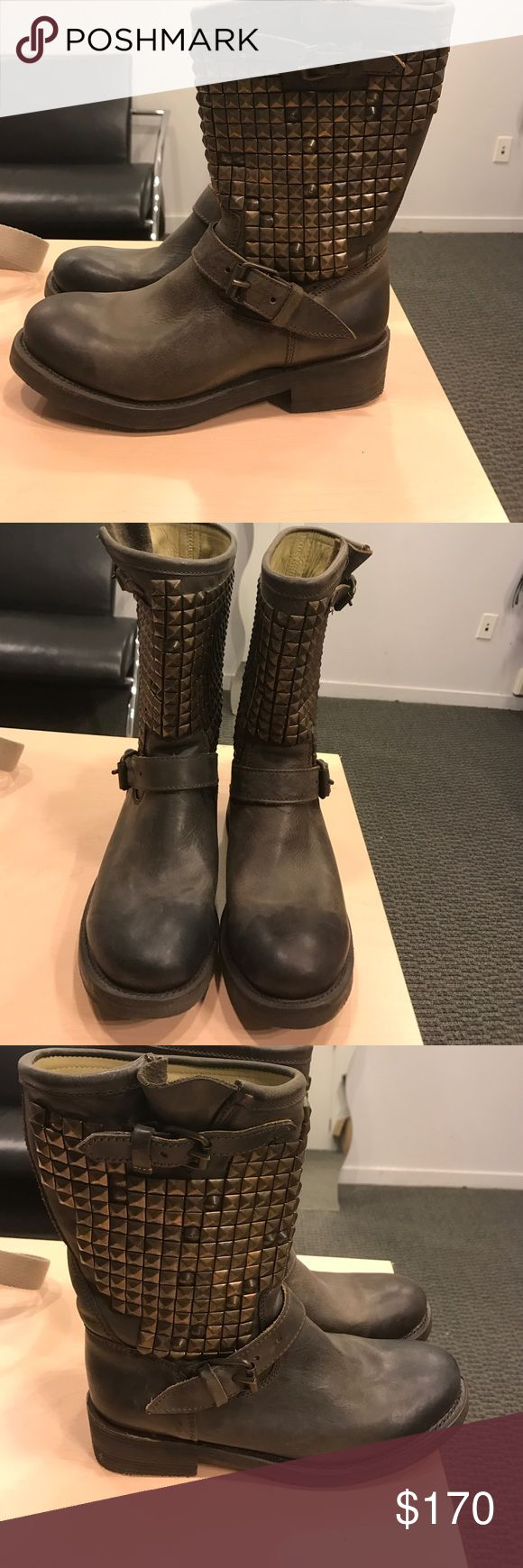 ASH BOOTS COMBAT NAILHEADS BRAND NEW SIZE 10 Sickest boots ever. Ash brand new with tags. They have nail heads on both sides of each boots. They are brown leather and heavy. Ash Shoes Combat & Moto Boots