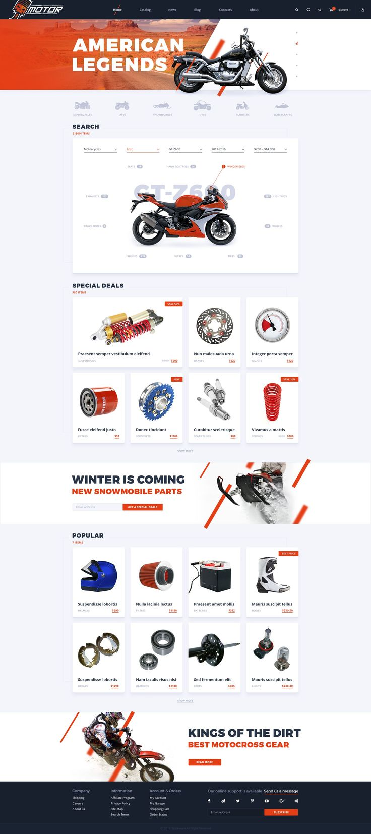 Motor – Motorcycle Parts Store #PSD Template included 20 editable PSD-files, well-organized, fully customizable and easy to use. #bike #automobile #website