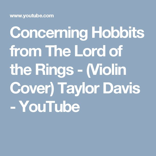 Concerning Hobbits From The Lord Of The Rings