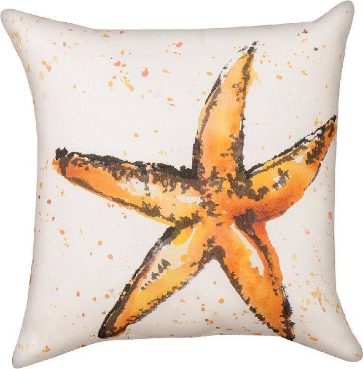 Painted Sealife Starfish Indoor/Outdoor Pillow by Barb Tourtillotte© - Coastal Motif