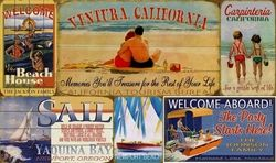 Personalized Vintage Beach Signs