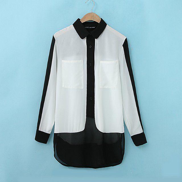 @ SOS шить рубашки 2014 весной и летом новый европейский стиль длинные нерегулярные подол шифон модели рубашки блузки - Taobao