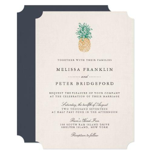 Vintage Pineapple Wedding Invitation #Wedding #Invites #Zazzle