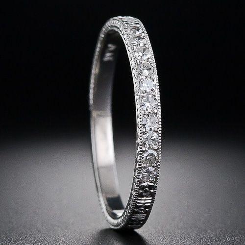 $875  Vintage Style Diamond Wedding Band - 110-1-5943 - Lang Antiques