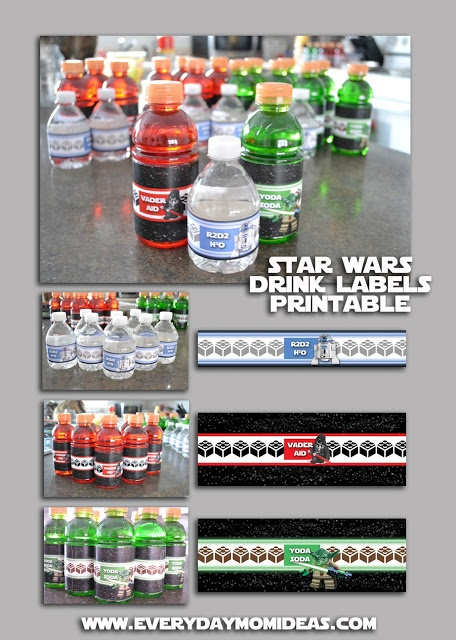 Vader-Aid, Yoda-Soda, R2D2H2O, FREE drink label printables. i feel like i might be a little old for these......ehh what the hell. im printing them off anyway.