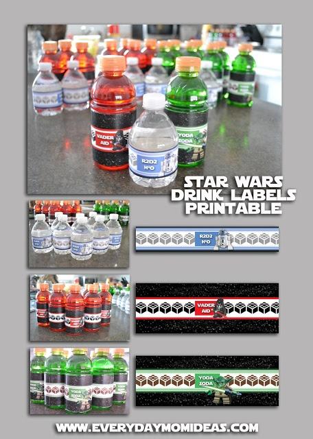 Vader-Aid, Yoda-Soda, R2D2H2O, FREE drink label printables